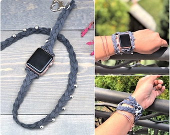 Braided Apple Watch Band 38mm, Double Tour Apple Watch Band Women, Bohemian iWatch Strap 42mm, Apple Watch Strap, iWatch Band, Boho Jewelry
