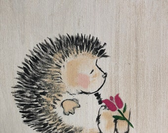 Hedgehog painting on wood, Hetti the hedgehog has a pink tulip on her feet, hand painted hedgehog with a flower, hedgehog wall plaque