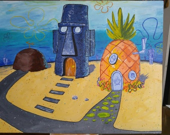 """Spongebob Intro Scene Painting (24""""x30""""in Acrylic on Canvas)(Unstretched)"""