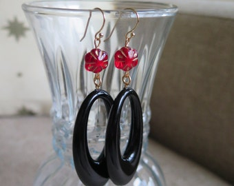 red and black earrings, black hoops, statement earrings, jet black earrings, hoop earrings, Lucite earrings, long black earrings, festive