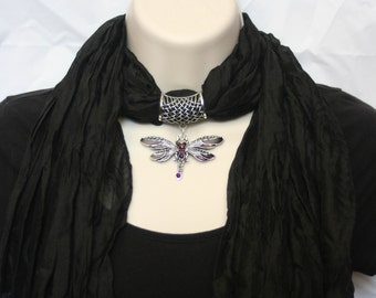 Soft Jeweled Scarf black with lavender and purple metal dragonfly pendant