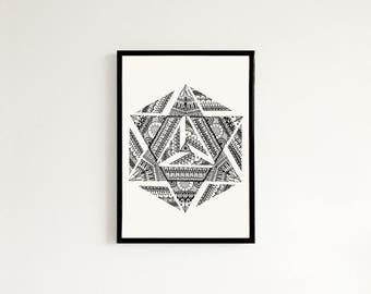 Geometric Mandala - Hand drawn art print