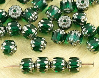 20pcs Crystal Emerald Green Metallic Silver Czech Glass Cathedral Faceted Fire Polished Beads Christmas 6mm