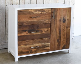 Reclaimed Wood Dresser, White + Wood Nursery Dresser