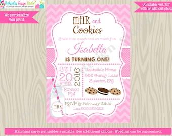 Milk and Cookies Birthday Invitation Milk and Cookie party invitation invite Cookies and Milk Invitation invite pink printable DIY Digital