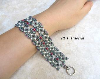 "Superduo Tutorial, Beading Bracelet Pattern, Bracelet Tutorial, DIY Bracelet, Jewelry Tutorial, Bead Tutorial, DIY Tutorial, ""Lacy"" Bracelet"