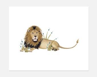 Lion Watercolor Painting Print, Lion Watercolor, Safari Nursery, jungle theme nursery, jungle nursery, Decorative Wall Art, Home and Decor