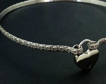 BDSM Submissive Locking & Discreet Day Collar, Lokelani Rose, Floral, Romantic Collar, Slave Collar, Made To Order #8888