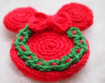 Christmas Ornament Mickey Mouse Minnie Mouse crochet pattern, Cristmas wreath, Christmas decoration