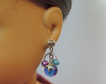 Galaxy Beads and Stars Earrings for American Girl Doll Luciana Vega GOTY 2018 and other 18 inch dolls