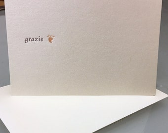 Grazie/Thank You - Letterpress printed greeting cards A-2 package of 5