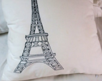 "French Pillow Paris Eiffel Tower White Cotton w Goose down insert and zipper 17 x 17"" White White"