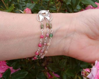 Rose-silver bracelet - silver-Tulip -gemstones-bracelet-Pink-Green-Multi strand bracelet-nature-spring-jewelry-ready-to-ship.