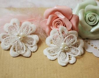 Wedding Lace Applique, Beaded Lace Applique, Bridal lace Applique, Off White Pearls Wedding Accessory, Floral Lace Trim, 3 Pieces