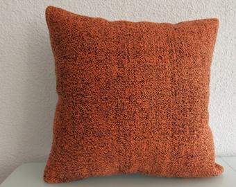 Orange Kilim Pillow 20x20 Decorative kilim Pillow Cotton Vintage Kilim Pillow 545