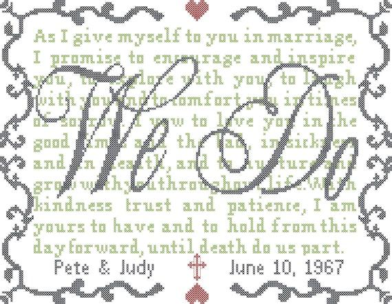 Modern wedding vows cross stitch pattern we do cross stitch