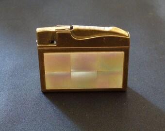 Vintage Stylish Elgin Mosaic Mother of Pearl Flint Cigarette Lighter