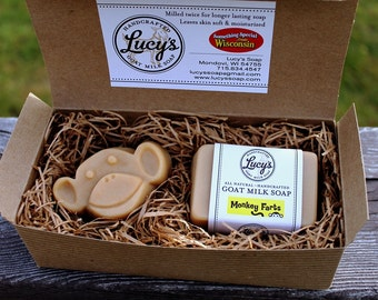 Monkey Farts Handcrafted Goat Milk Soap Gift Set for Child, Grandchild and Fun Year of the Monkey Gift for Friend