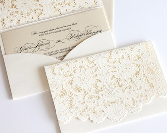 Lace Wedding Invitation | Laser Cut Pocket Fold | Vintage Wedding Invitation  | Elegant Wedding Invite Ivory | Damask Invite | GRACIE Sample