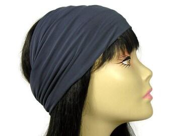 Gray Lycra Head Wrap Mans Grey Lycra Head Wrap Men's Headband Women's Headband Gray Lycra Head Wrap Gunmetal Gray Hair Wraps Grey Do Rags