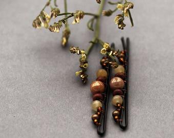 Cappuccino Bobby Pins, Coffee Hair Pins, Brown Retro Hair Accessories, Autumn Wedding, Brown, Coffee, Retro Bobby Pins