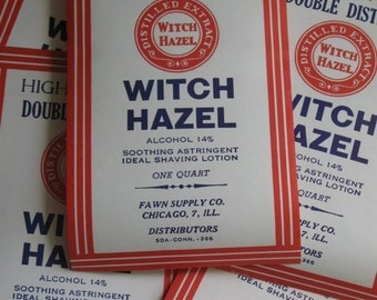 vintage adhesive labels Witch Hazel apothecary Halloween potions