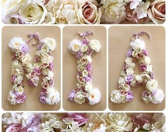 """Flower letters 15''/19""""/24'', Floral letter, Nursery flower decor, Personalized nursery decor, Baby shower, Wall art, Nursery wall art"""