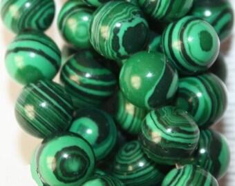 """Malachite Beads - Round 8 mm Gemstone Beads - Full Strand 15"""", 47 beads - Reconstituted"""