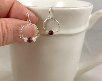 Garnet and Moonstone Sterling Silver Hoop Earrings