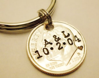 10 Year Anniversary DIME Keychain; Couple Gift, 10th/Tenth Wedding, Stamped Personalized Mens Womens Initials Date, UNCIRCULATED 2008 2018 +