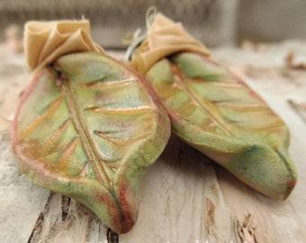 Spring Rose Sari Silk Clay Earrings