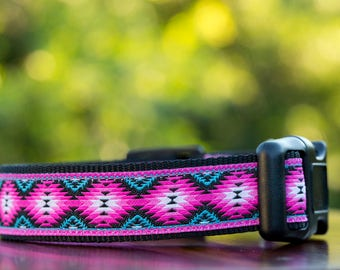 Pink Tribal Dog Collar / Dog Collars Australia / XS-XL /