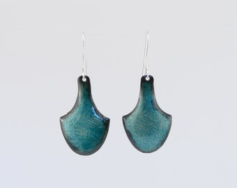 Transparent teal enamel earrings, sheild shaped earrings, formed copper, patterned copper, shiny, movement, subtle color, gift for her