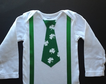 St. Patrick's Day Tie with suspenders - Bodysuit or shirt - Baby Boy St. Patrick's Day Outfit - Great outfit for First Saint Patrick's Day