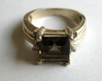 Vintage sterling silver clear brown smoky quartz, size 5.5