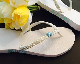 Bridal Flip Flops Wedding Flip Flops Wedding  Shoes Beach Wedding Shoes Bridal Shoes Sandals Bride Gifts