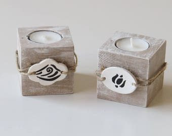 Set of two candle holders tealight in wood recovery, candle holder in wood, candle holder cube, Candle Holder Center table