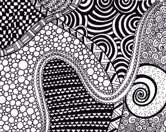 Zentangle Inspired Art, Ink Drawing, Black and White, Printable Art Zendoodle