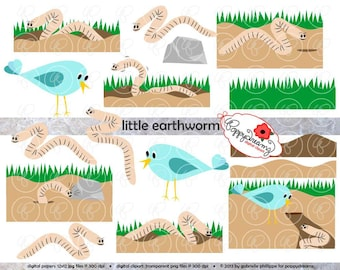Little Earthworm Story Elements: Clip Art Pack (300 dpi) Digital Images (transparent png files) Garden Bug Earth Worm Bird Clipart