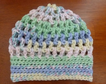 Crochet Puff Stitch Hat Size 0 to 3 Months - Ready to Ship -