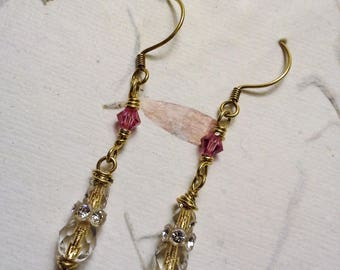 Pink Fancy Earring Gold Earring Swarovski Crystal Earring Bohemian Glitz 14kt Gold Dangle Earring Gift Wedding Jewelry