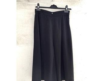 Vintage Japanese Designer BLACK Capri Palazzo Pants / High Waist / Wide Leg by MASON Tokyo Paris  Italy