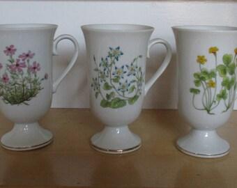 Vintage Mugs - Japanese Porcelain Mugs, Pedestal Mugs, Botanical Flowers on White, Made in Japan, Mid-Century Mugs, 1970s