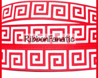 "5 yds 5/8"" Red and White Greek Key Pattern Grosgrain Ribbon"