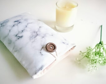 Marble Fabric Phone Case with Pocket, iPhone 8 Case, iPhone X Case, iPhone 8 Plus Case, Pixel Phone Case, Padded Phone Sleeve Pouch
