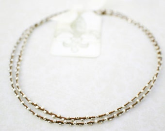 Brown Waxed Irish Linen Necklace - Double Wrapped with Tiny Sterling Silver Beads and Thai Silver Hook Clasp