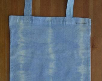Tie dyed cotton bag, light blue