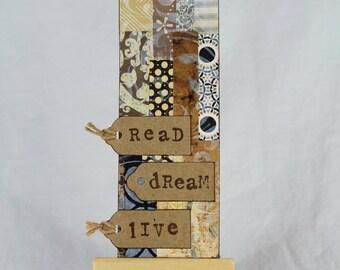 Bookmark, gift for reader, gift for him, book lover gift, birthday gift, gift for her, handmade bookmark, mixed media bookmark