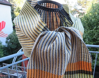 handwoven scarf, striped, elegant, made of cottolin