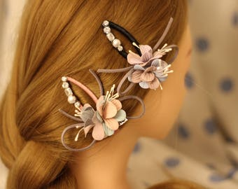 2 Colors/Suede Floral Pearl Bow hair clips/ 8cm/ Crystal and Pearl/ Wedding/Cute / Hair Alligator Clip hair accessory